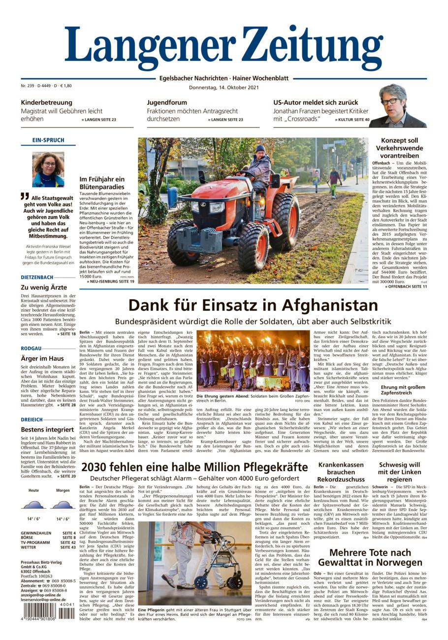 Langener-Zeitung vom Donnerstag, 14.10.2021