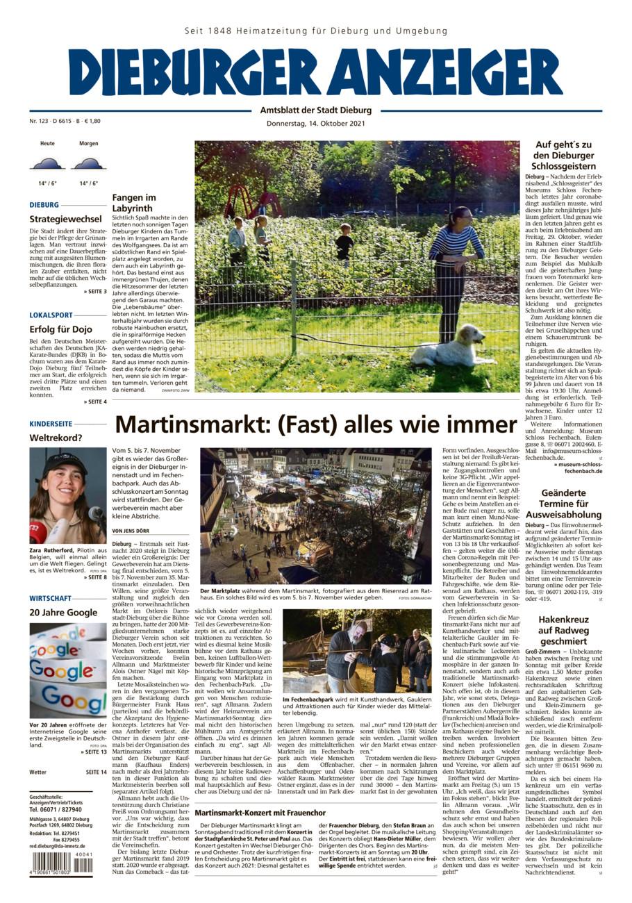 Dieburger Anzeiger vom Donnerstag, 14.10.2021