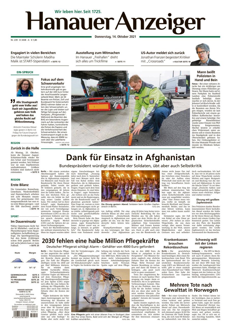 Hanauer Anzeiger vom Donnerstag, 14.10.2021
