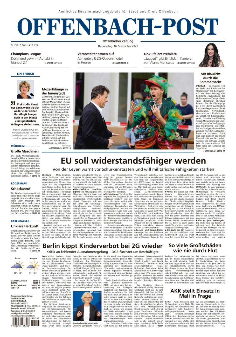 Offenbach-Post vom Donnerstag, 16.09.2021