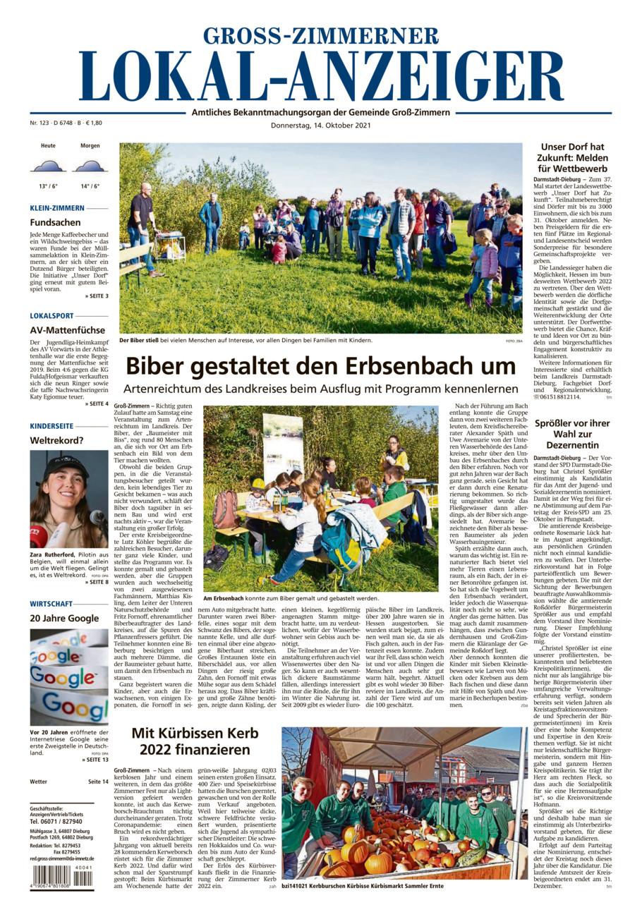Gross-Zimmerner Lokalanzeiger vom Donnerstag, 14.10.2021