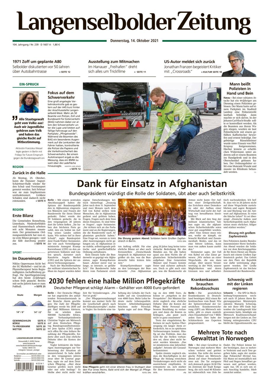 Langenselbolder Zeitung vom Donnerstag, 14.10.2021