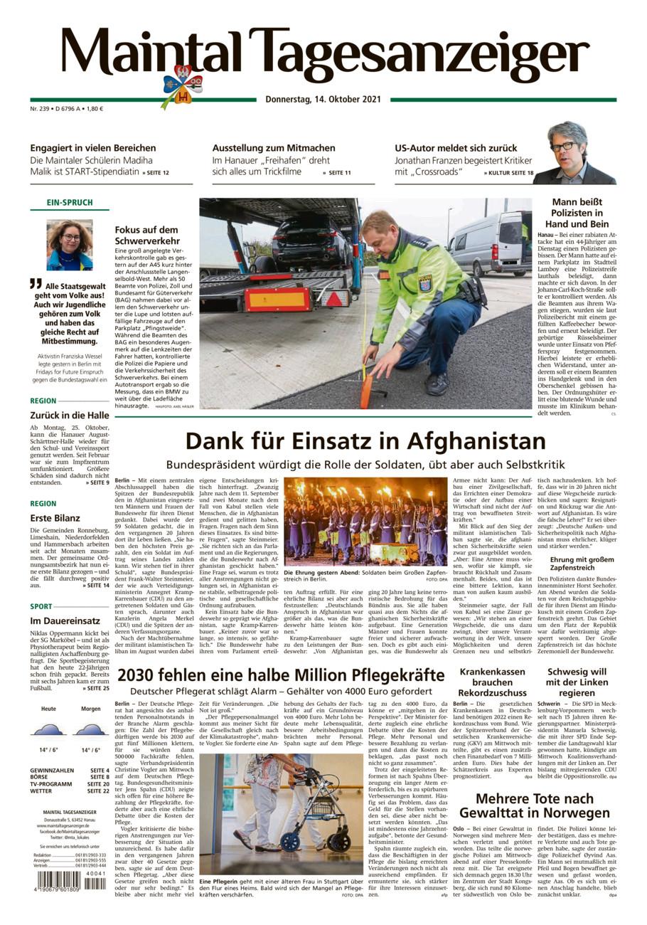 Maintal Tagesanzeiger vom Donnerstag, 14.10.2021